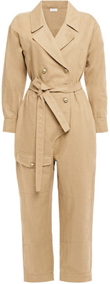 Brunello Cucinelli Double-breasted Cropped Linen And Cotton-blend Twill Jumpsuit