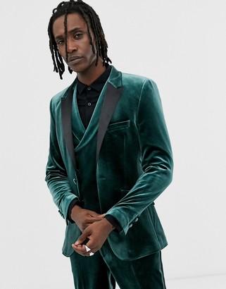 Asos DESIGN super skinny tuxedo jacket in forest green velvet
