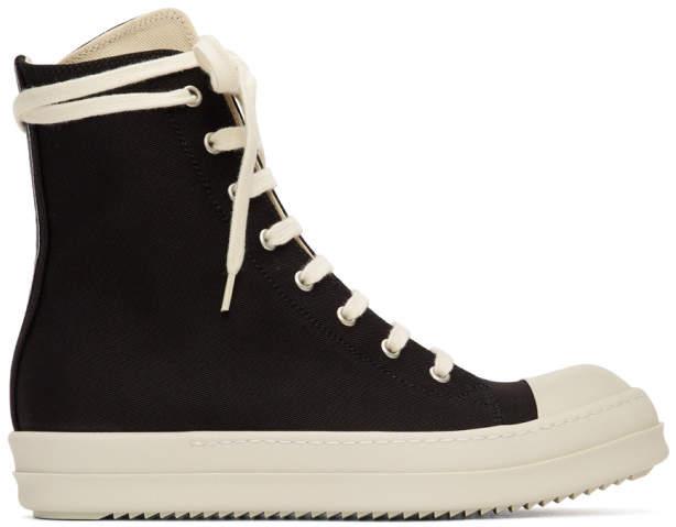 Rick Owens Black Canvas High-Top Sneakers