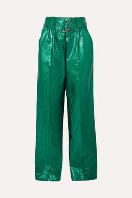 Stand Studio - Alaina Belted Crinkled Metallic Faux Leather Wide-leg Pants - Green