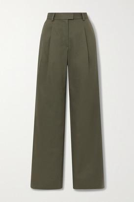 Bella Freud Angie Pleated Cotton-twill Wide-leg Pants - Dark green