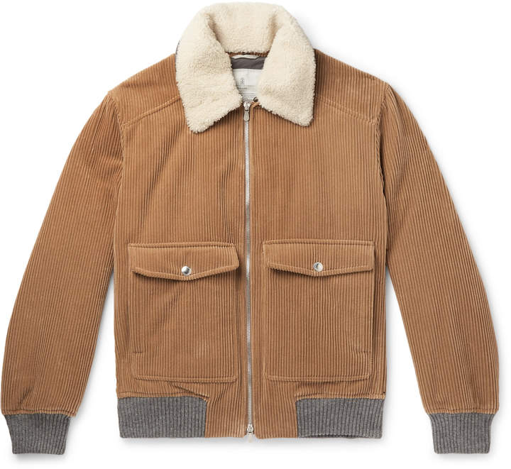 d41abcb18 Shearling-Trimmed Cotton And Cashmere-Blend Corduroy Bomber Jacket