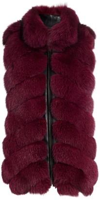 The Fur Salon Chevron Section Fox Fur Leather-Trim Vest
