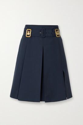 Lanvin - Belted Embellished Wool-blend Skirt - Navy