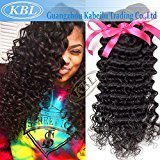 "KBL Grade 5A Brazilian Curly Hair Wave Extensions 100% Virgin Remy Human Hair 3 Bundles Natural Black (16"" 16"" 16"")"