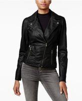 Celebrity Pink Juniors' Faux-Leather Moto Jacket