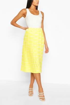 boohoo Polka Dot Pleated Woven Midi Skirt