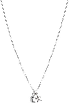 Lucy Ashton Jewellery Tiny Moon & Star Necklace Sterling Silver