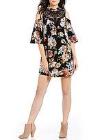 Soulmates Cold Shoulder Velvet Floral Print Dress