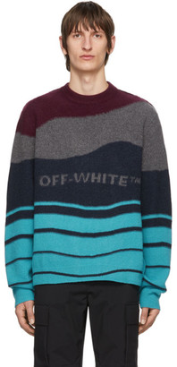 Off-White Off White Burgundy and Navy Intarsia Sweater