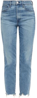 3x1 Cropped Frayed Faded High-rise Slim-leg Jeans