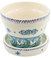 Artisan Crafted Ceramic Pot with Floral Motif, 'Bermuda'