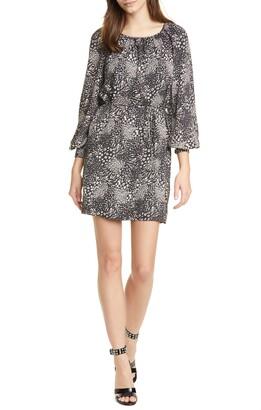 Joie Aminata Mixed Animal Print Long Sleeve Minidress