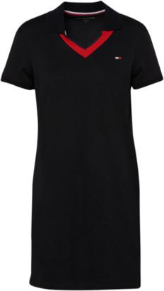 Tommy Hilfiger V-Neck Short Sleeve Polo Shirt Dress - Black