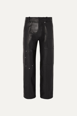 Chloé Studded Leather Straight-leg Pants - Black
