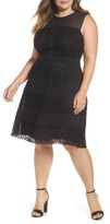 London Times Plus Size Women's London Time Geo Galaxy Lace Fit & Flare Dress