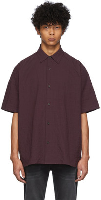 Acne Studios Burgundy Seersucker Short Sleeve Shirt