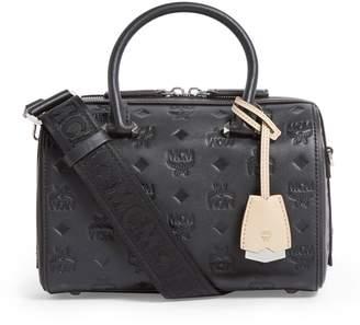 MCM Leather Small Essential Monogram Boston Bag