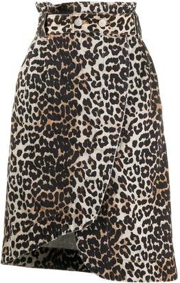 Ganni Leopard Print Asymmetric Denim Skirt