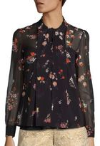 RED Valentino Floral Print Silk Blouse