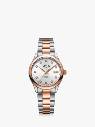 Rotary LB05094/70/D Women's Oxford Diamond Date Bracelet Strap Watch, Silver/Rose Gold