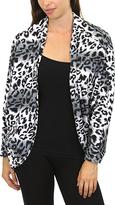Gray Leopard Print Open Cardigan