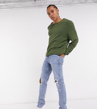 ASOS DESIGN Tall knitted oversized textured yarn sweater in dark green