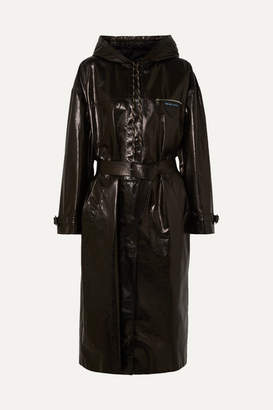 Prada Hooded Patent-leather Trench Coat - Black