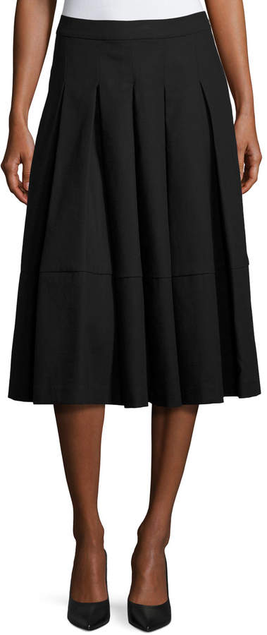 Co Box-Pleated Midi Skirt, Black