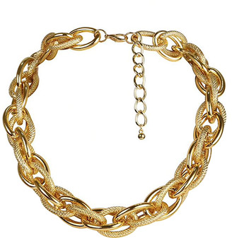 Don't AsK Women's Necklaces Gold - Goldtone Textured Chunky Chain Choker Necklace