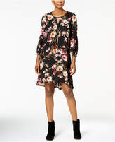 NY Collection Petite Floral-Print Keyhole Dress