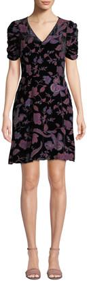 Rebecca Minkoff Arlette Printed Velvet Short-Sleeve Dress