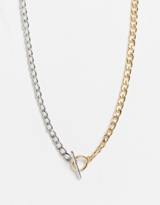 Topshop necklace with t-bar in mixed metal