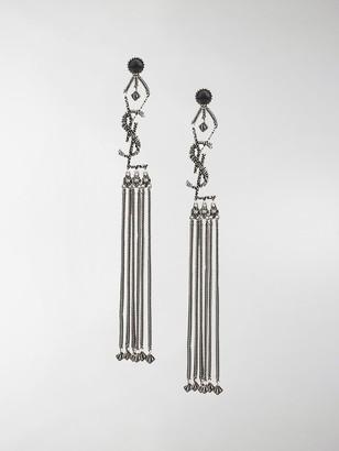 Saint Laurent Monogram textured tassel earrings