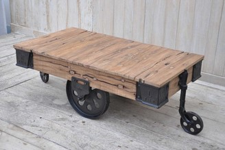 Phil Bee Interiors Industrial Cart Coffee Table