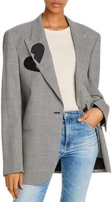 MSGM Giacca Wool-Blend Houndstooth Heart Blazer