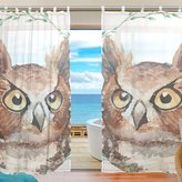 "SUABO 2PCS Ultra Luxurious Window Gauze Curtains, Polyester Washable Sheer Window Curtain Panels for Bedroom Living Room 55""W x 78""L - (Set of 2 Panels), Owl Pattern"