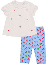 Florence Eiseman Cherry Collared Cap-Sleeve Top w/ Leggings, Blue/White, Size 2T-4T