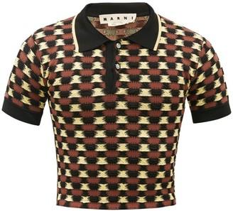 Marni Checked Jersey-cloque Polo Shirt - Brown Multi