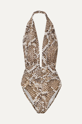 Norma Kamali Marissa Snake-print Halterneck Swimsuit - Silver