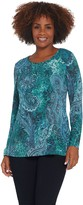 Susan Graver Printed Sweater Knit Peplum Tunic with Lurex