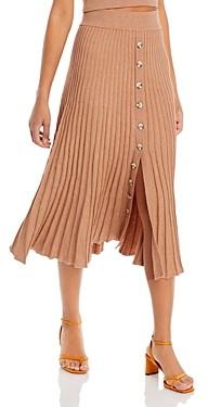 Bardot Ribbed Button Front Midi Skirt