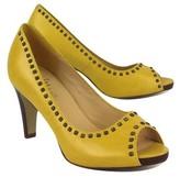 Cole Haan Sunflower Yellow Leather Studded Peep Toe Heels