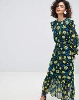 Selected Floral Midaxi Dress With Ruffle Details