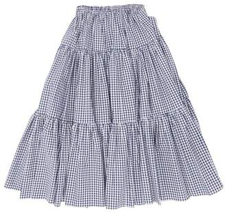 Batsheva Amy Tiered Gingham Cotton Midi Skirt - Womens - Blue White