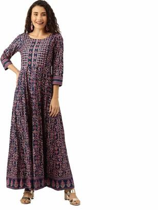 Hiral designer Indian Tunic Tops Women's Cotton Floral Print Anarkali Kurta Long Dress (40