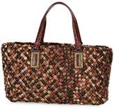 Bottega Veneta Lido Snakeskin & Lizard Tote Bag with Pouch, Red