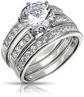 Bling Jewelry Round Cut 3 Piece CZ Bridal Engagement Ring Set 925 Silver