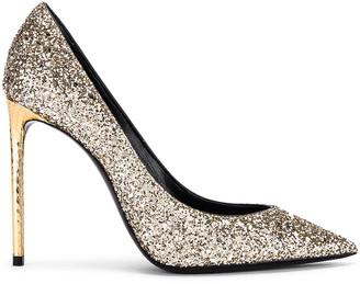 Saint Laurent Zoe Glitter Heels in Gold   FWRD