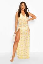 boohoo Chain Print Cut Out Maxi Split Beach Dress